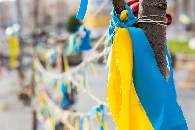 Аннотация ленты в украинском цвете Premium Фотографии