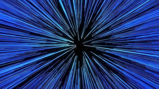 Конспект движения деформации или гиперпространства в след голубой звезды. взрывающееся и расширяющееся движение Premium Фотографии