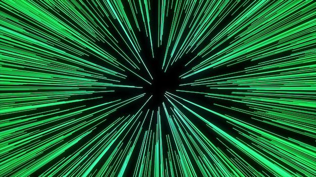 Конспект движения искривления или гиперпространства в зеленой следе звезды. взрывающееся и расширяющееся движение Premium Фотографии