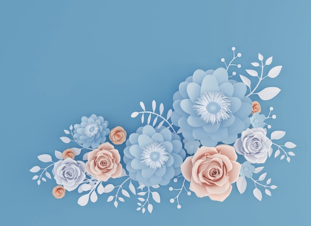 Abstract Paper Art Flower Isolated On Blue Background 3d