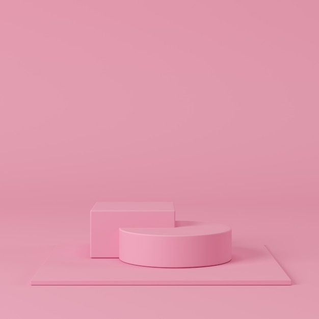 Abstract pastel color geometric shape, podium display for product. minimal concept. 3d rendering background. Premium Photo