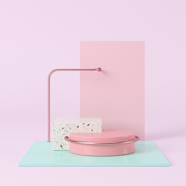 Abstract pastel color geometric shape, podium display for product. minimal concept. 3d rendering. Premium Photo