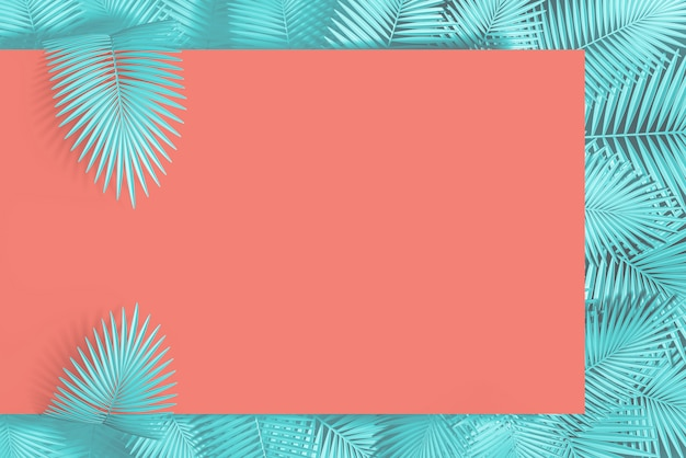 Abstract pastel pink and blue  background of an empty rectangle and many palm leaves in the background. 3d illustration.3d render Premium Photo