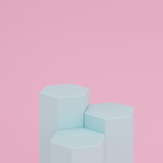 Abstract pink background with geometric hexagon shape green color podium for product. minimal concept. 3d rendering Premium Photo