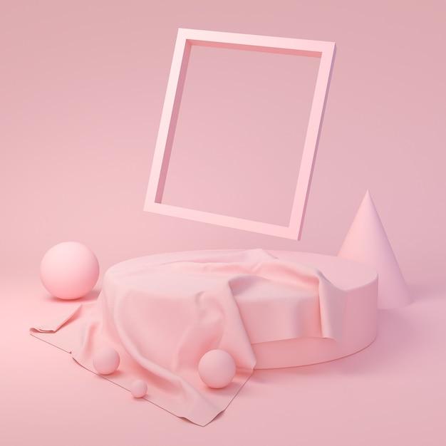 抽象的なピンク色の幾何学的形状、表彰台ディスプレイまたはショーケース、3 dレンダリングのモダンなミニマリストのモックアップ。 Premium写真
