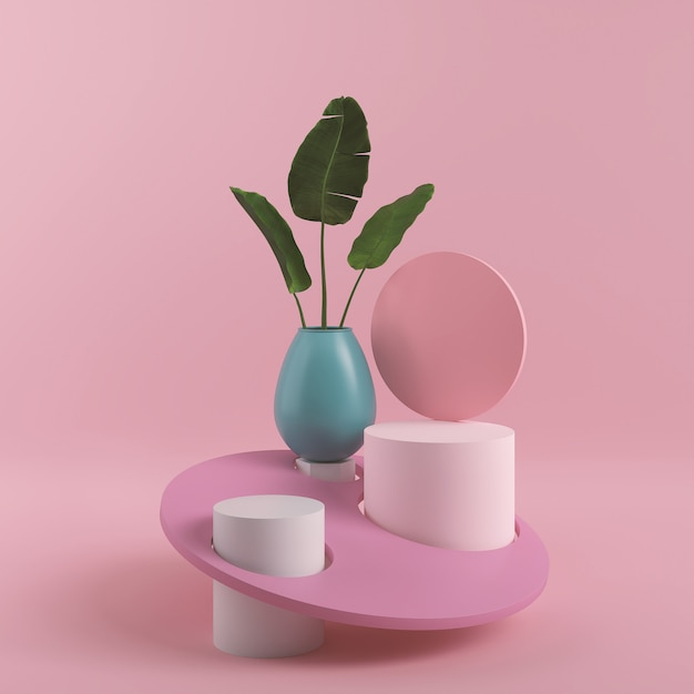 Abstract pink color geometric shape, modern minimalist podium display or showcase, 3d rendering Premium Photo