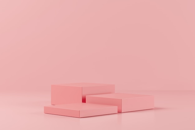 Abstract pink color geometry shape on pink background, minimal podium for product, 3d rendering Premium Photo