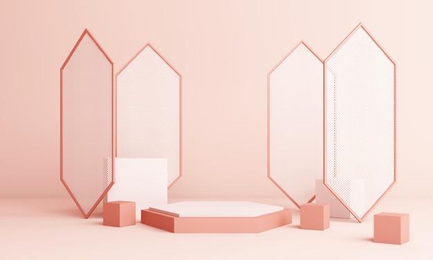 연단과 추상 분홍색 구성입니다. 둥근 받침대 및 복사 공간, 기하학적 모양 파스텔, 3d 렌더링이있는 최소 스튜디오 프리미엄 사진