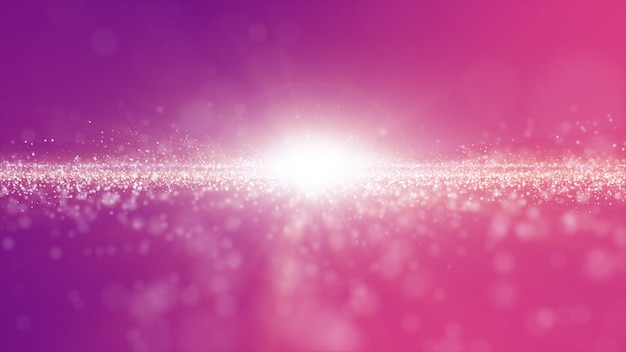 Abstract pink and purple color digital particles wave with dust and light background Premium Photo