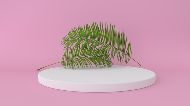 Abstract platform with palm leaf Premium Photo