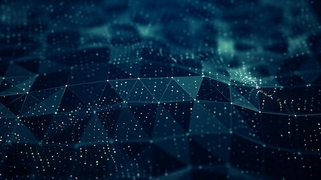 Abstract plexus digital blue color wave  shapes background Premium Photo