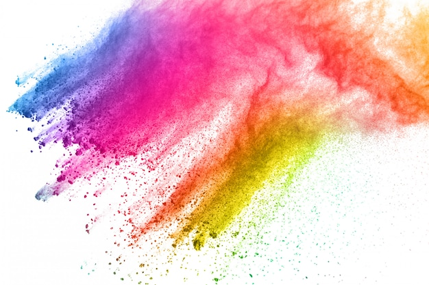 Abstract powder splatted background. colorful powder explosion on white background. Premium Photo