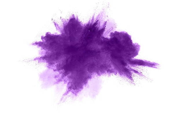Abstract purple powder explosion on white background Premium Photo