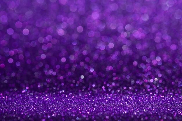 흐림 Bokeh와 추상 보라색 반짝이 반짝이 벽과 바닥 관점 배경 스튜디오 프리미엄 사진