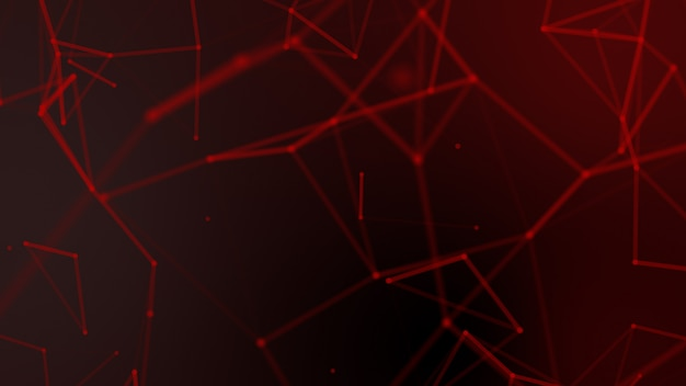 Abstract red blurred geometry wireframe network and connecting dot on black background Premium Photo