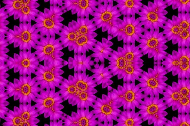 トップビュー紫蓮と黄色の花粉、万華鏡の背景の抽象的な反射 Premium写真