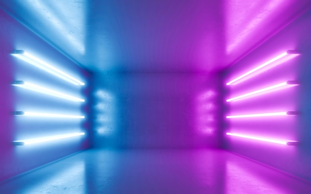 Abstract room interior for backgrtound with blue and violet neon Premium Photo