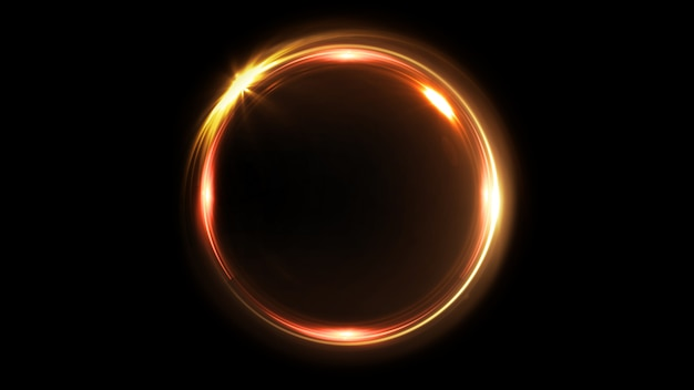 Abstract rotating neon circle in gold color. luminous ring. space tunnel. led color ellipse. 3d illustration. empty hole. glow portal. hot ball. flickering spin. Premium Photo