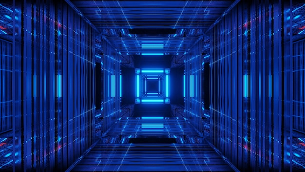 Fondo futuristico di fantascienza astratta con luci al neon blu Foto Gratuite