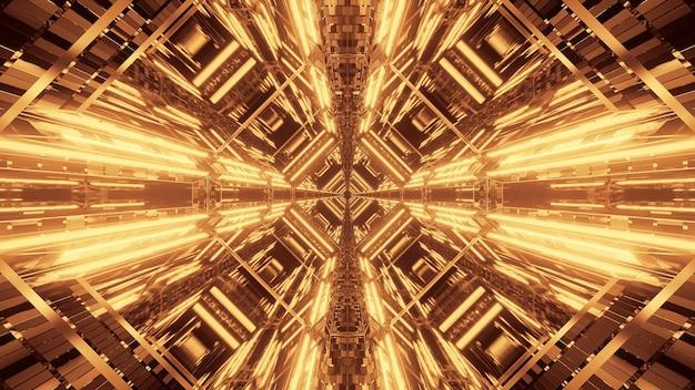 Абстрактный футуристический фон научной фантастики с золотыми неоновыми огнями Бесплатные Фотографии