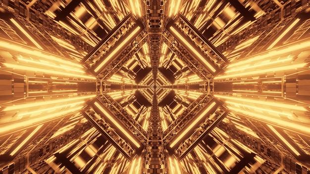 Абстрактный фантастический футуристический фон с золотыми неоновыми огнями Бесплатные Фотографии