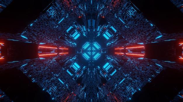 빨간색과 파란색 네온 불빛과 함께 추상 공상 과학 미래의 배경 무료 사진