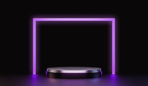Abstract silver pedestal for showing products with neon lights Premium Photo