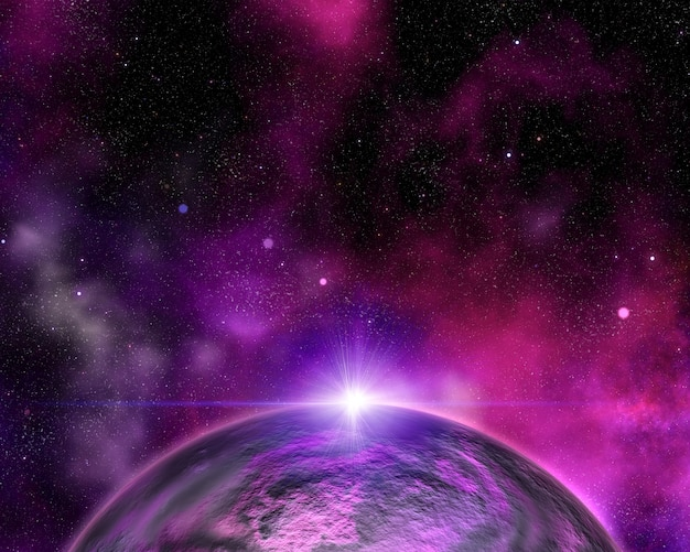 Abstract space background with fictional planet Free Photo