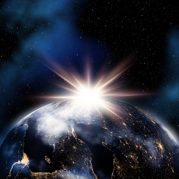 Abstract space background with night lights on earth Free Photo