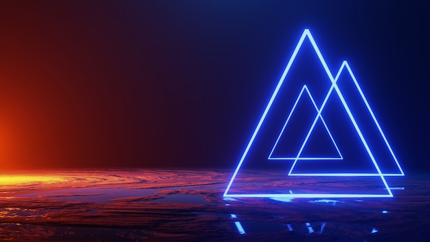 Abstract space ,neon light triangle, 3d render, 3d render Premium Photo