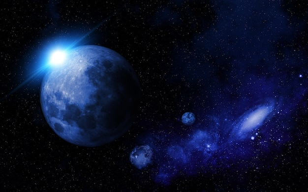 Abstract space scene with fictional planets Free Photo