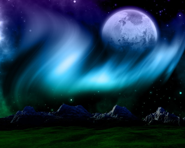 Abstract space scene with northern lights and fictional planet Free Photo