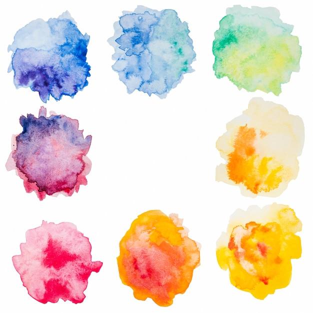 Schizzi astratti di acquerelli colorati Foto Gratuite