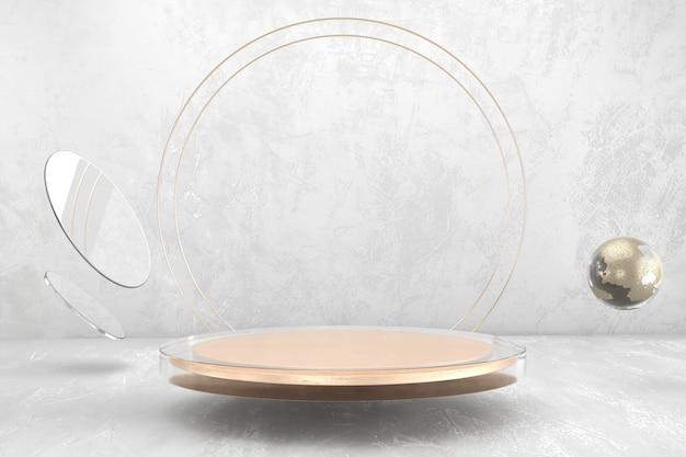 제품 디스플레이, 3d 렌더링 광고에 대 한 추상 무대 플랫폼 연단. 프리미엄 사진