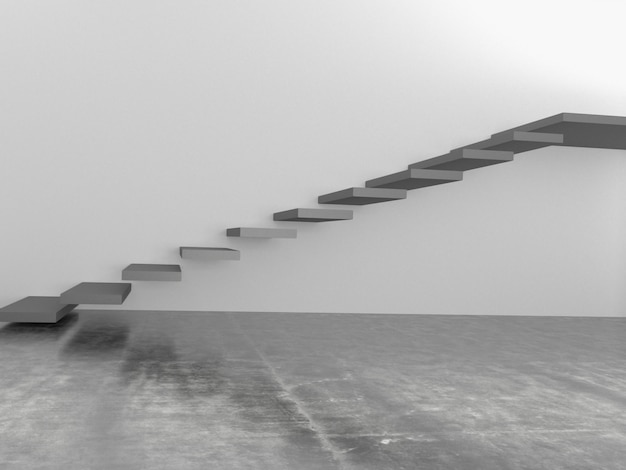 Abstract stairs in interior, 3d rendering Premium Photo