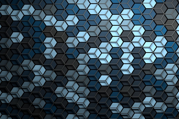 Abstract surface with randomized color hexagons and layered wireframe mesh on top Premium Photo