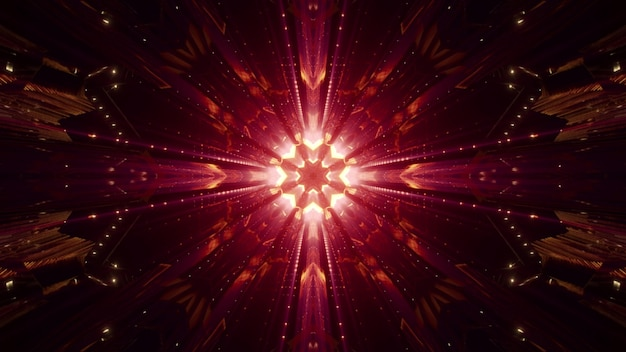 Abstract symmetric crystal ornament glowing with bright red light in darkness Premium Photo