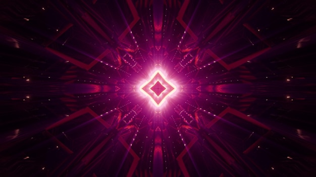 Abstract symmetric geometric ornament shimmering with red neon light in darkness Premium Photo