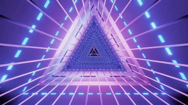 Abstract symmetric triangle tunnel with lines and bright neon illumination of violet color Premium Photo