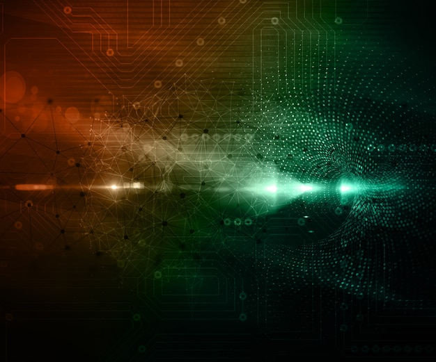 Abstract techno background with connecting dots and lines and ...