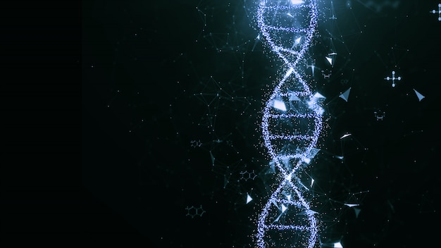 Abstract technology dna concept. Premium Photo