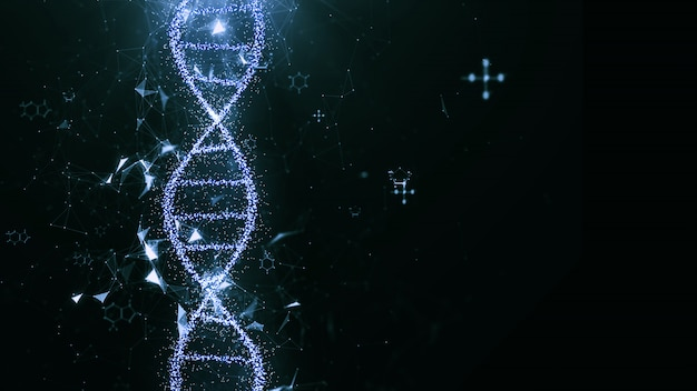 Abstract technology science concept, dna code structure. Premium Photo