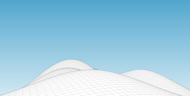 抽象的な地形ワイヤーフレーム風景の背景。 Premium写真