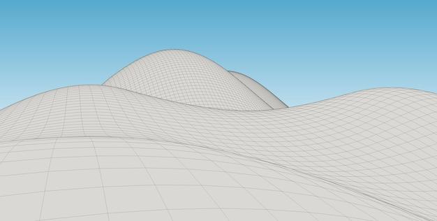 Abstract terrain wireframe landscape background. Premium Photo