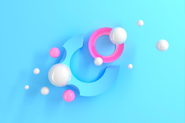 Abstract three-dimensional table of many circles with round cutouts with a stylized display of the planet and satellites on blue table. 3d illustration Premium Photo