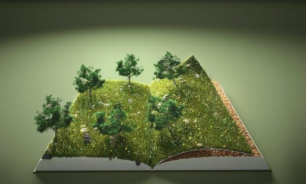 Абстрактные деревья и земная книга Premium Фотографии