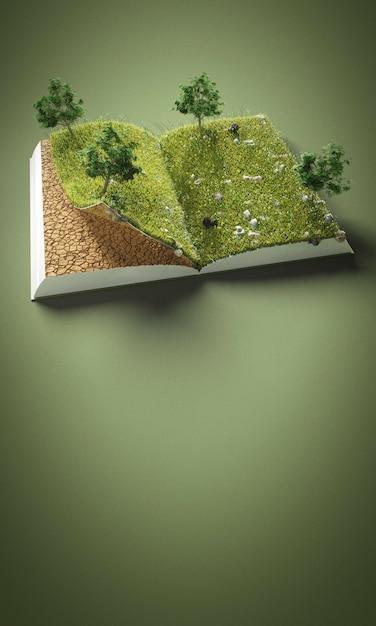 Абстрактные деревья и земля в книге с копией пространства Premium Фотографии