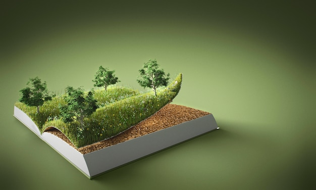 Abstract trees and ground in book with copy space Premium Photo
