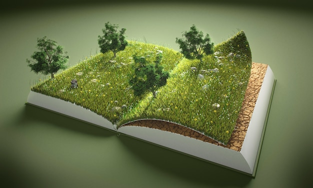 Abstract trees and ground in book Premium Photo