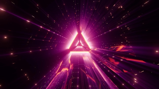 Abstract triangle shaped ornament glowing with distorted neon pink light Premium Photo
